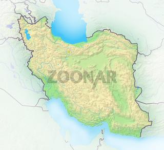 Iran , Reliefkarte.