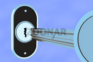 Key with lock cylinder, 3d illustration