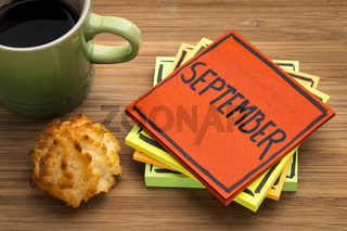 September reminder note with coffee and cookie