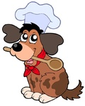 Cartoon dog chef with spoon - isolated illustration.