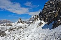 Winter in the Dolomites near Rifugio Locatelli hut, South Tyrol, Trentino-Alto Adige, Italy