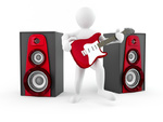 Men with guitar and loudspeaker. 3d