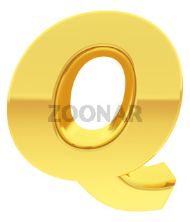Gold alphabet symbol letter Q with gradient reflections isolated on white. High resolution 3D image