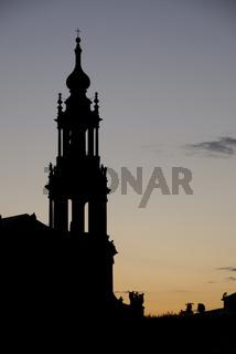 Silhouette der katholische Hofkirche in Dresden, seit 1980 Kathedrale Sanctissimæ Trinitatis