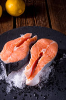 fresh raw salmon on ice