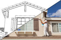 Diagonal Split Screen of Drawing and Photo of House Painter Painting Home