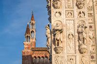 Pavia Carthusian monastery facade details close up.
