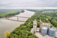 Missouri River at Miami, MO aerial view