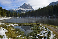 First snow at Lake Antorno, Lago Antorno, South Tyrol, Alto Adige, Italy