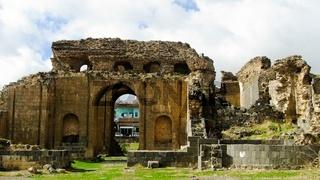Exterior view to roman termas ruin at Philippopolis, Shahbaa, Syria