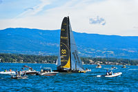 Sailing boat SUI 10 Ladycat powered by Spindrift Racing, Lake Geneva, Switzerland