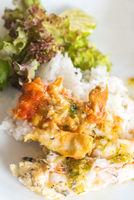 River prawn on rice