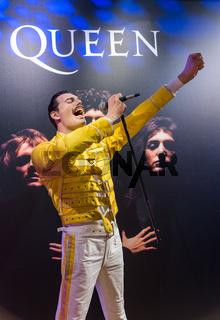 AMSTERDAM, NETHERLANDS - APRIL 25, 2017: Freddie Mercury wax statue in Madame Tussauds museum on April 25, 2017 in Amsterdam Netherlands