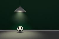 fußball unter hängelampe - 3d rendering