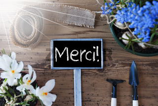 Sunny Spring Flowers, Sign, Merci Means Thank You