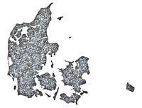 Karte von Dänemark auf Textur - Textured map of Denmark