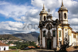 View of historic baroque church Igreja Sao Francisco de Assis, Ouro Preto, UNESCO World heritage sit