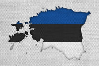 Karte und Fahne von Estland auf altem Leinen - Map and flag of Estonia on old linen