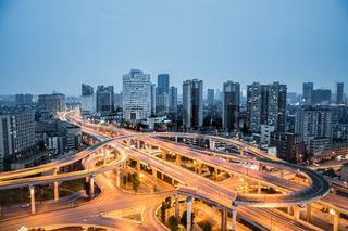 city interchange closeup in nightfall