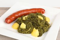 green kale with potatoes and sausage