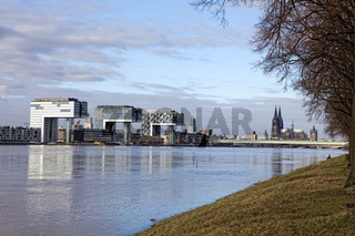 Rhine River and the Kranhaus buildings during high water, Cologn