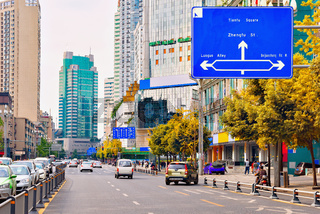 Central street of Chengdu city at day time.
