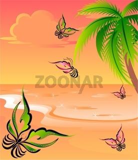 summer beach with butterflies