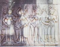 detail of stone carvings in Angkor wat, Cambodia