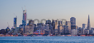 San Francisco skyline and Bay Bridge at sunset California
