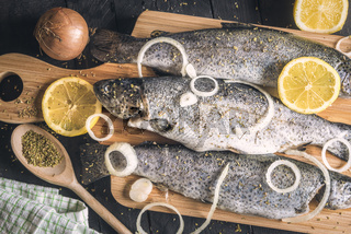Fresh fish with onion and lemons on a trencher