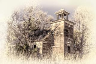 old abandoned schoolhouse in rural Nebraska