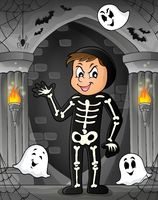 Boy in Halloween costume theme image 1