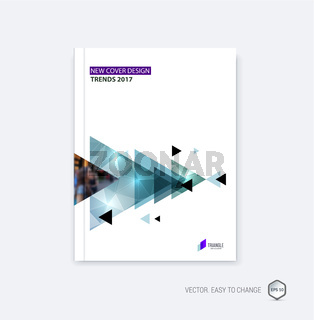 Abstract cover design, business brochure template layout, report, booklet in A4 with diagonal triangular geometric shapes on polygonal background. Creative vector Illustration.