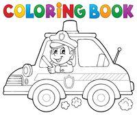 Coloring book police car theme 1