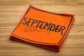 September reminder note
