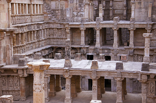 Carved idols on the inner wall of Rani ki vav,  an intricately constructed stepwell on the banks of Saraswati River. Patan, Gujarat, India