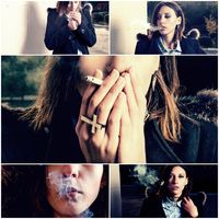 Young woman smoker. Bad habit concept collage of toned images