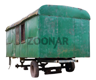 Broken abandoned green car wagon