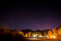 Campground at night with a starry sky