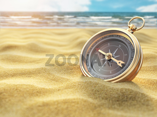 Compass on sea sand. Travel destination and navigation concept.