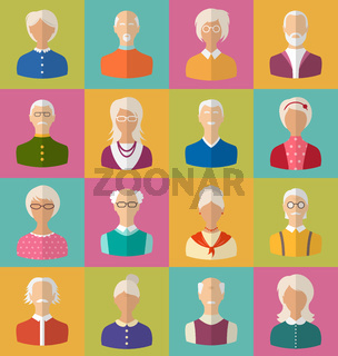 Old People of Faces of Women and Men of Grey-headed