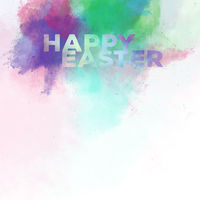 Happy Easter lettering on a watercolor background. Digital art