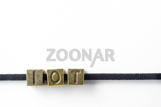 Design concept - top view of metal cube word ' link ' link with line