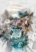 Luxury yachts in Port Le Vieux, France. Digital watercolor painting.