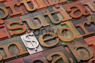 dollar sign in letterpress type