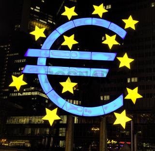 EURO sign at night
