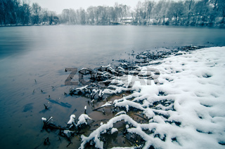 snow covered landscapes in belmont north carolina along catawba river