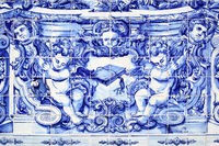Detail of traditional portuguese tilework azulejo