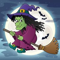 Witch on broom theme image 2 - picture illustration.