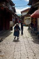 Lijiang China Old Town Mature Naxi Woman Alley